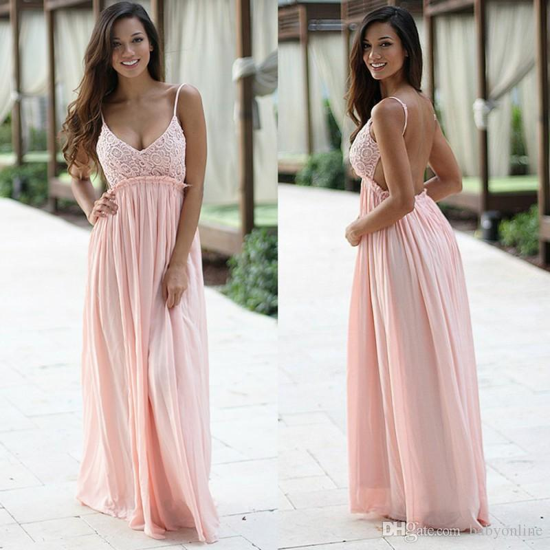 e2593a74aa0e8 Pearl Pink Sexy Open Back Prom Dresses 2018 Spaghetti Straps A Line Maternity  Dress Pregnancy Dress Plus Size Senior Prom Dresses Sexy Red Prom Dresses  From ...