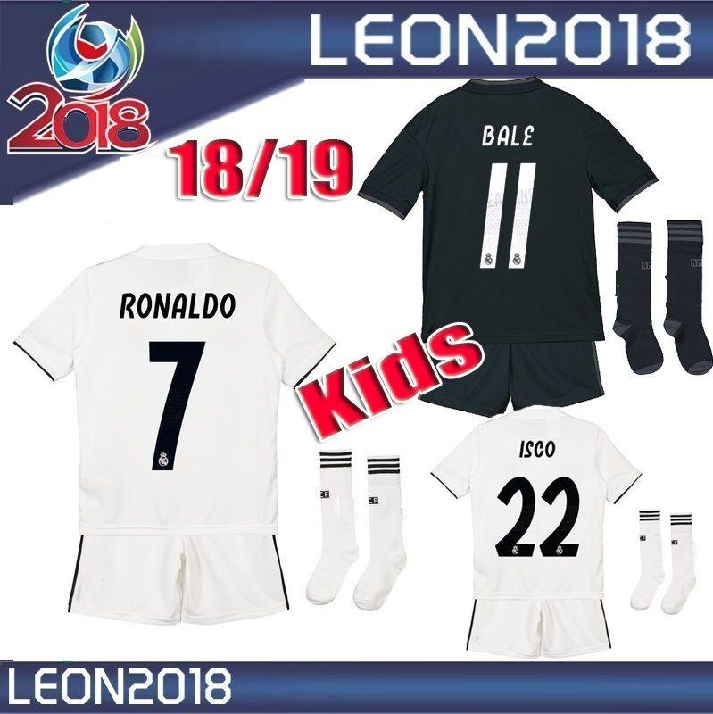 Großhandel Kinder Kits 2018 2019 Real Madrid Fußball Trikots 18 19
