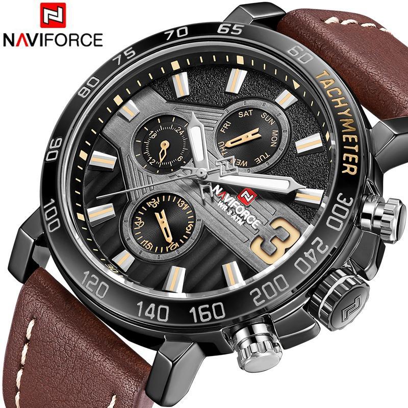 742984f10925 Compre Top Marca De Lujo NAVIFORCE Hombres Deportes Relojes De Cuero De Los  Hombres Reloj Impermeable Reloj Hombre Reloj De Cuarzo Relogio Masculino A  ...