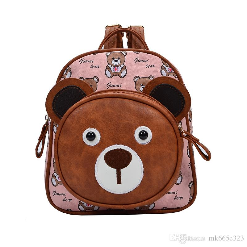 Waterproof School Bag Kids Lunch Boxes Carry Bag PU Bear Preschool Toddler Backpacks for Boys Girls with Quick Access front Pouch for Snacks