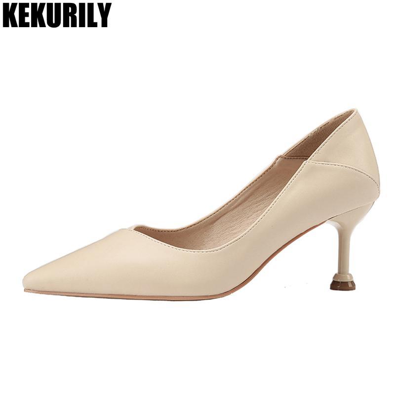 97a345045872c büro pumpt frau high heels schuhe für frauen leder 6,5 cm weibliche fersen  kleid schuhe schwarz apricot rosa braun flache pumpe