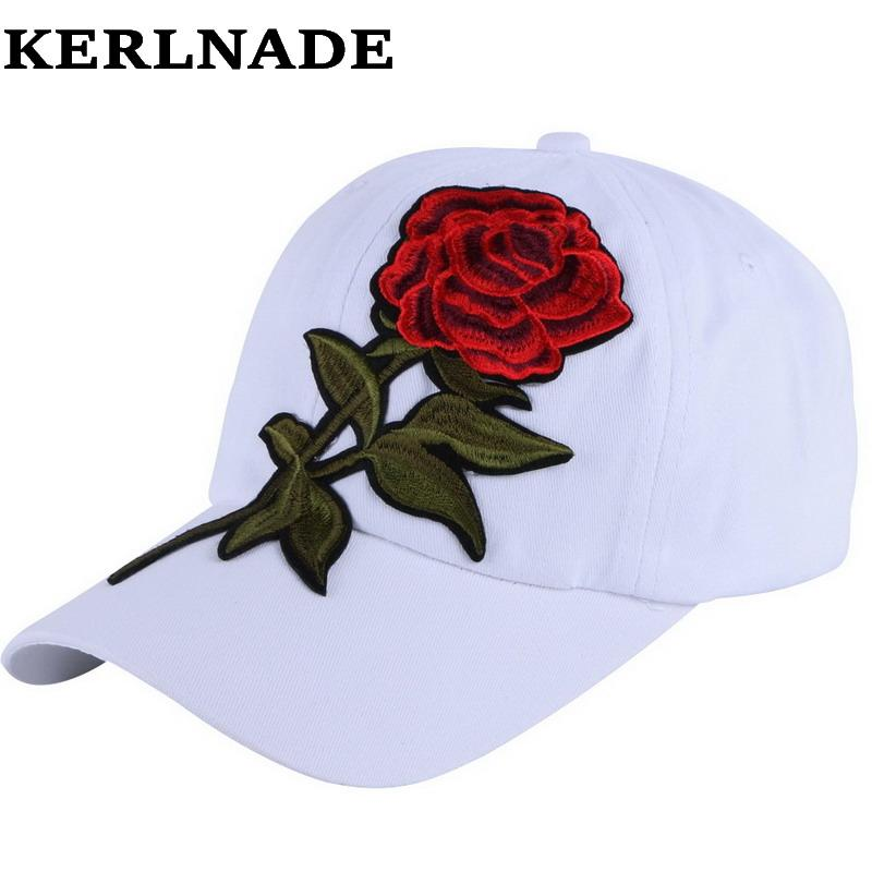 b202eb5a581 New Trendy Luxury Women Girl Beauty Baseball Cap Rose Floral Design Hip Hop Snapback  Hats White Red Spring Summer Autumn Hat Customized Hats Custom Hat From ...