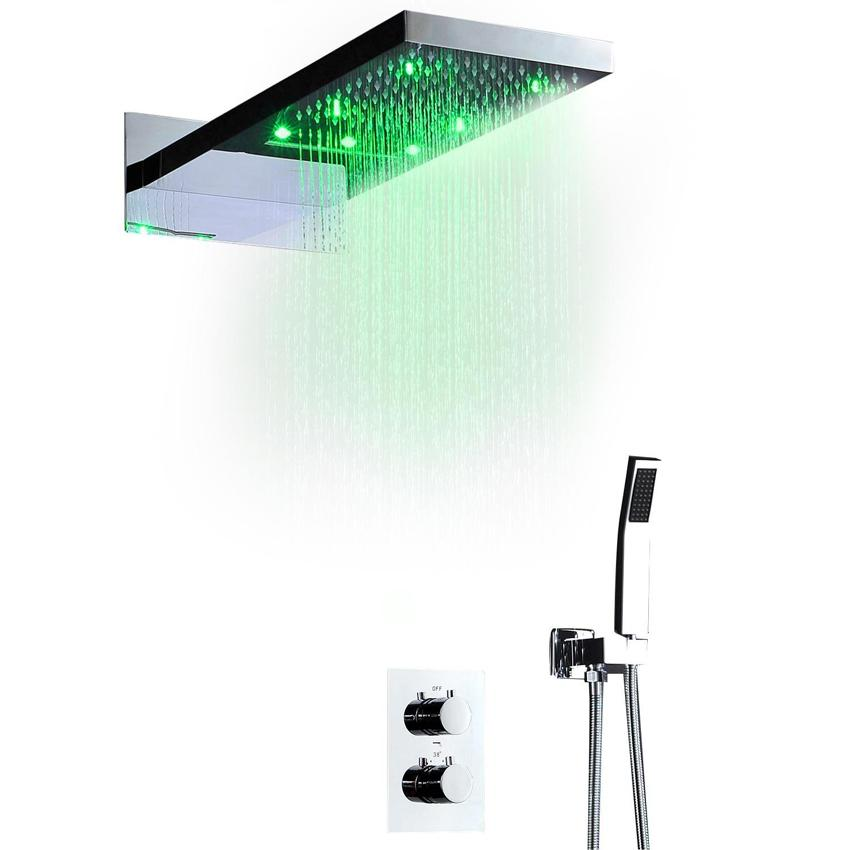 두 기능 천장 샤워 헤드 세트 4 인치 목욕탕 샤워 꼭지와 20 인치 안개 낀 비누 욕실 온도 조절 샤워 스파