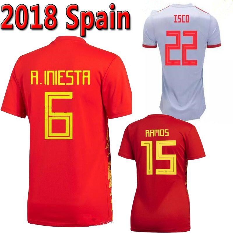 9fa38103c 2018 Spain Soccer Jersey World Cup Home Away INIESTA RAMOS MORATA ...