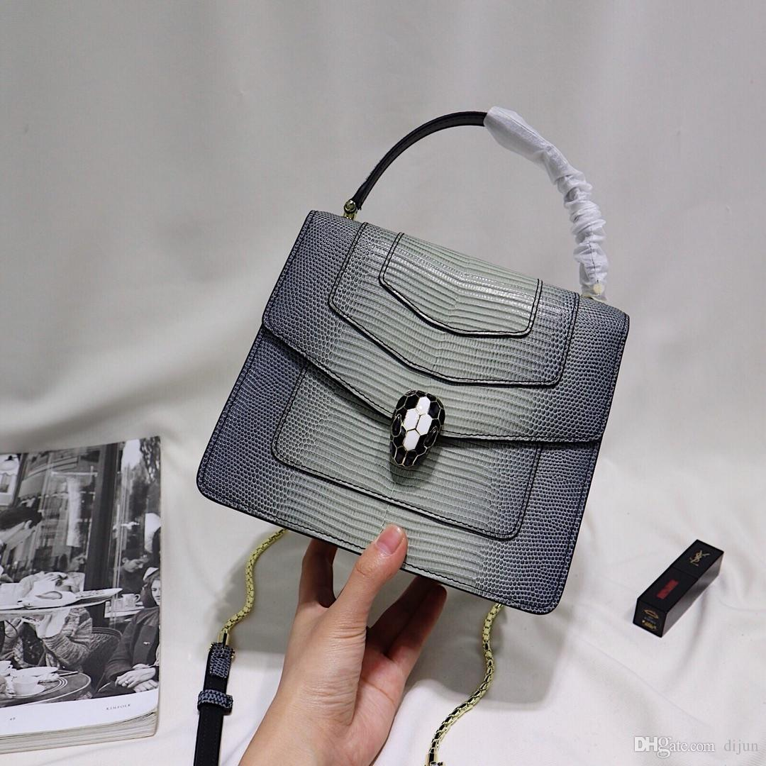 121c1585c0ff 2018 Women Designer Handbags Luxury Brand Shoulder Chain Bag Genine Leather  Snake Head High Quality Hardware Crossbody Messenger Bags Bags Crossbody  Bags ...