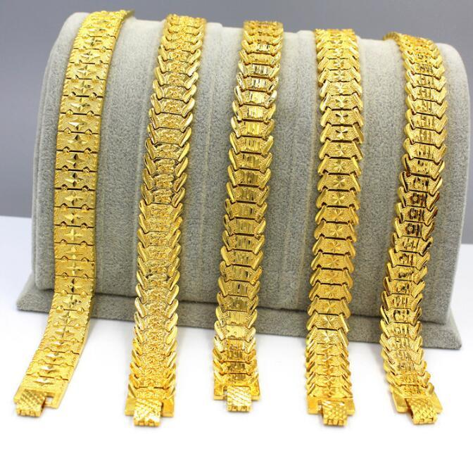 0cbd1cf759efa 6 style choice 18k gold plated European currency Sikkim South Africa sand  gold Bracelets for men women Link Braceletss figaro jewelry