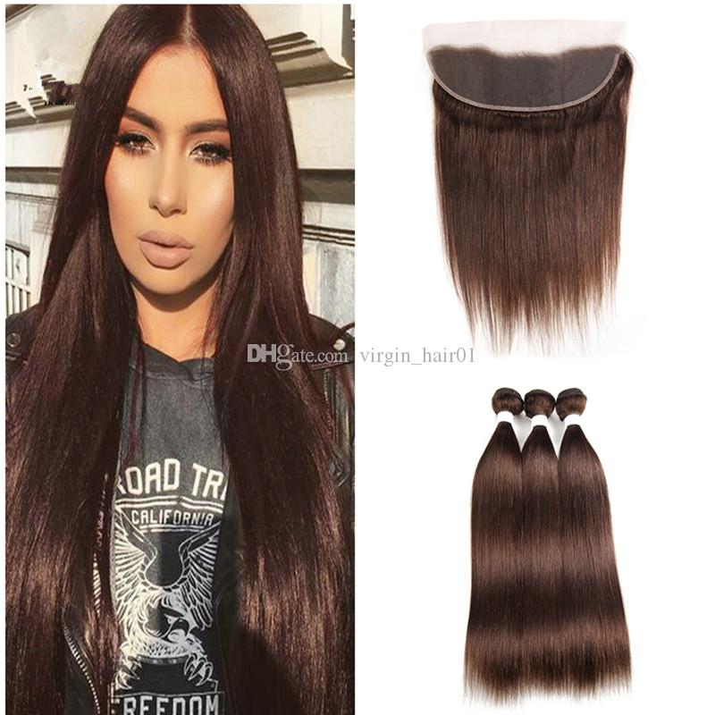 Brown Hair Weaves With Lace Frontal Closure Virgin Brazilian Human Hair Color #4 Chestnut Brown Bundles With Ear To Ear Lace Frontal Closure