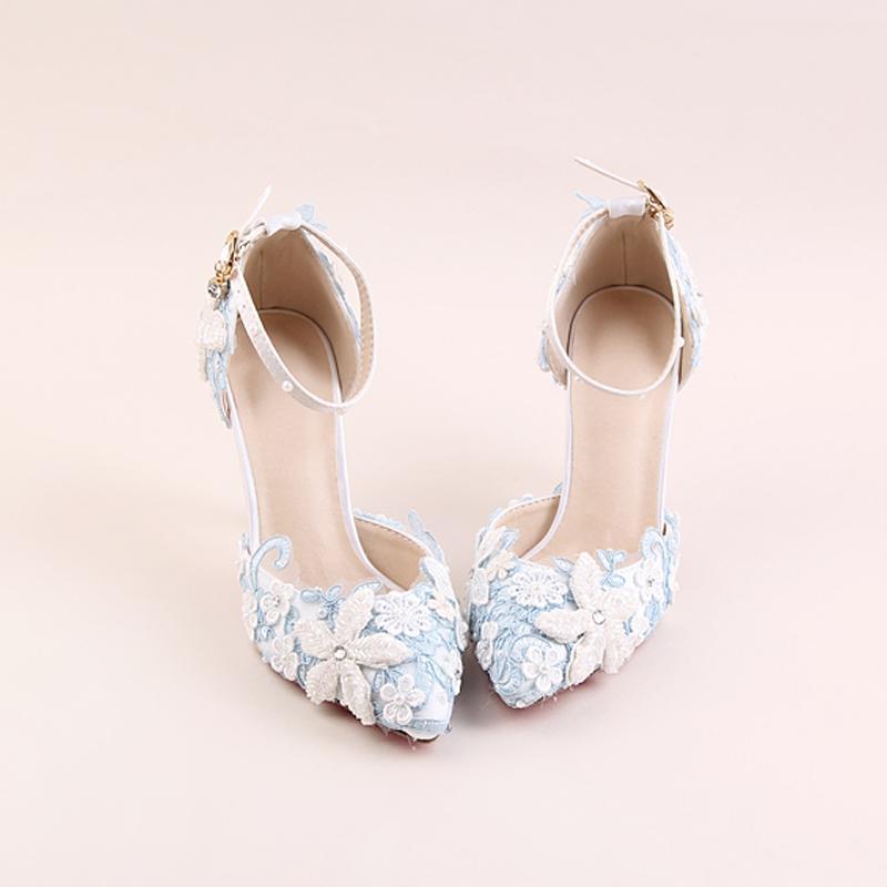 26757af81 Blue Lace Flowers Custom Bride White Pearls Handmade Pointed Head 9cm Super  Sweet High Heel Wedding Girls Wearing Sandals Chaco Sandals Jack Rogers  Sandals ...
