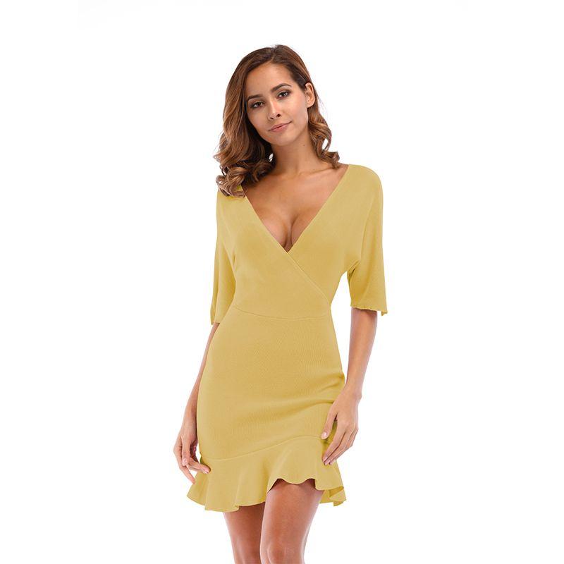 Verão O novo vestido Flounce 2018 tamanho grande roupas femininas Profundo V gola manga morcego saco de tricô saia