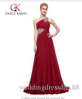 5aa3cda19306 Grace Karin Long Evening Dress Chiffon Formal Prom Dresses One Shoulder Elegant  Evening Gowns Party Dress 2017 Vestidos Wedding Dress Websites Wedding ...