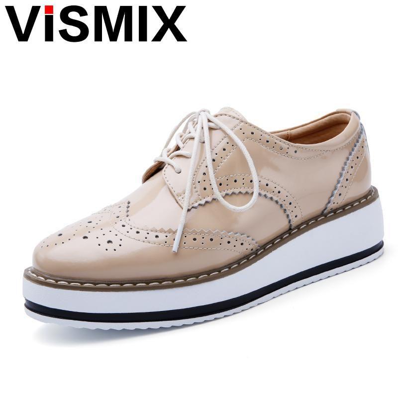 d500830cf333 VISMIX 2017 Spring Women Platform Shoes Woman Brogue Patent Leather Flats Lace  Up Footwear Female Flat Oxford Shoes For Women Flat Shoes Online Clothes ...