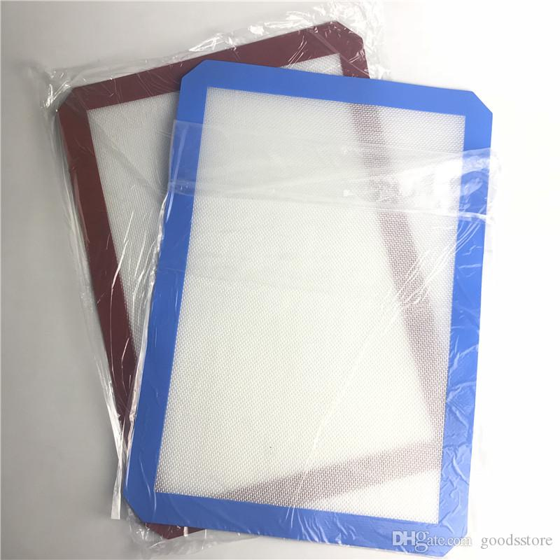 Red Blue Silicone Mat with 42cm x 29cm XXL Non-Stick Silicone Wax Oil Dab Dinng Tale Baking Mats for Glass Smoking Water Pipes