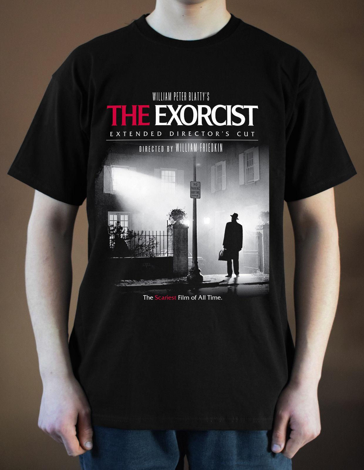 THE EXORCIST Movie Poester ver. 1 Horror William Friedkin T-Shirt (Nero) T-shirt uomo o-collo in 100% cotone casual manica corta