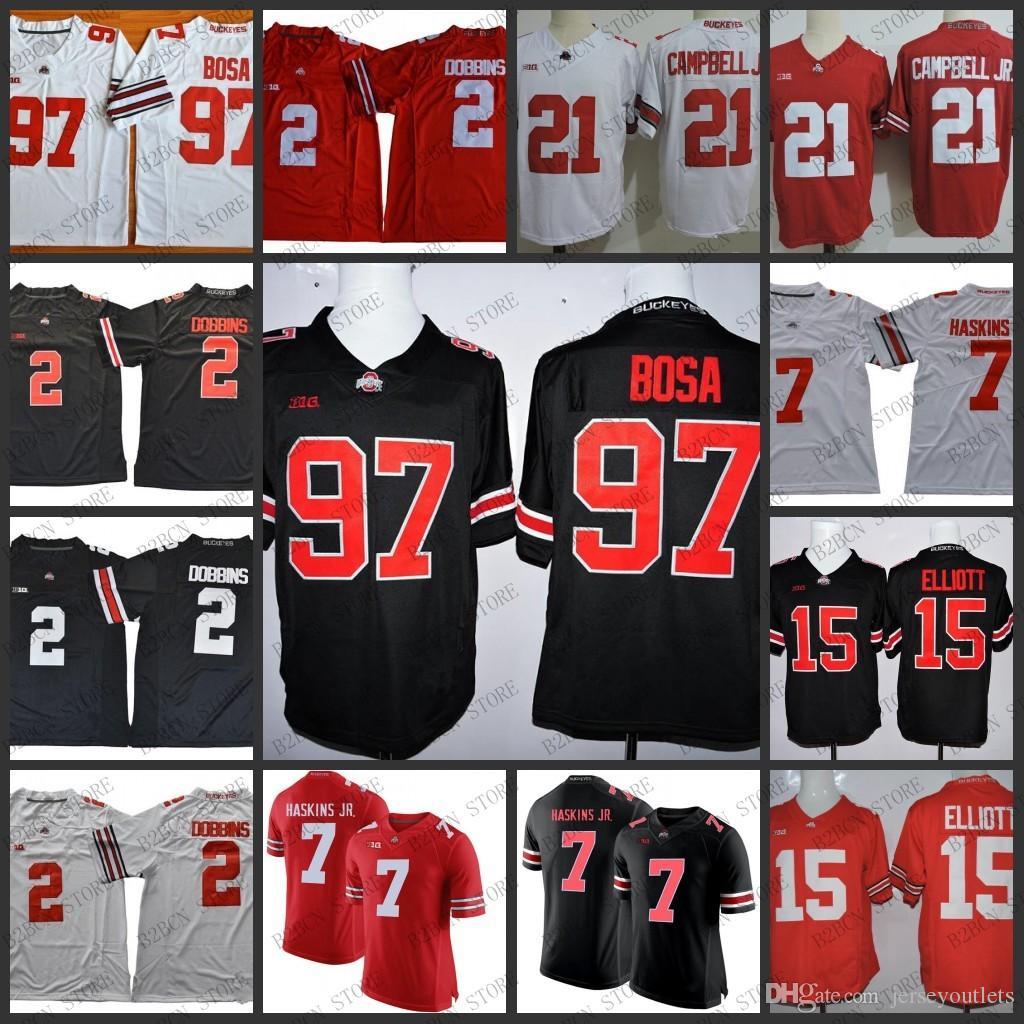 8e47ccc90 2018 NCAA Ohio State Buckeyes 2 JK Dobbins 7 Dwayne Haskins Jr. 15 Elliott  97 Nick Bosa White Red Black Jerseys Stithced S 3XL UK 2019 From  Jerseyoutlets