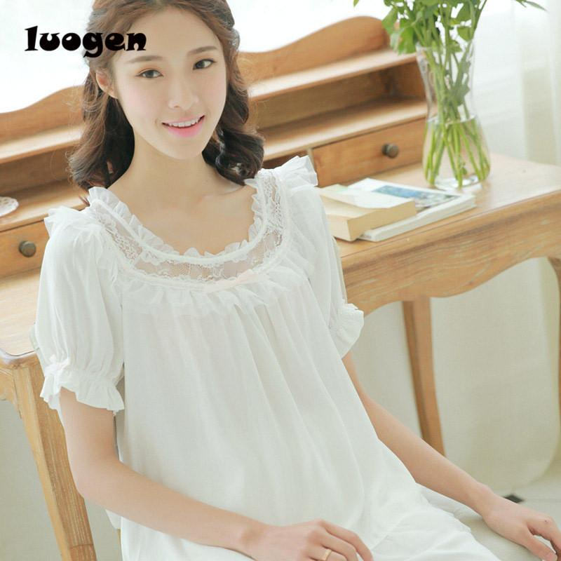2019 Sweet Lolita Girls Sleepwear Gown Dress Lace Round Neck Cotton  Nightgown Nightdress Women Princess Night Wear Vintage From Yzlwatchfine 3c658c3fb