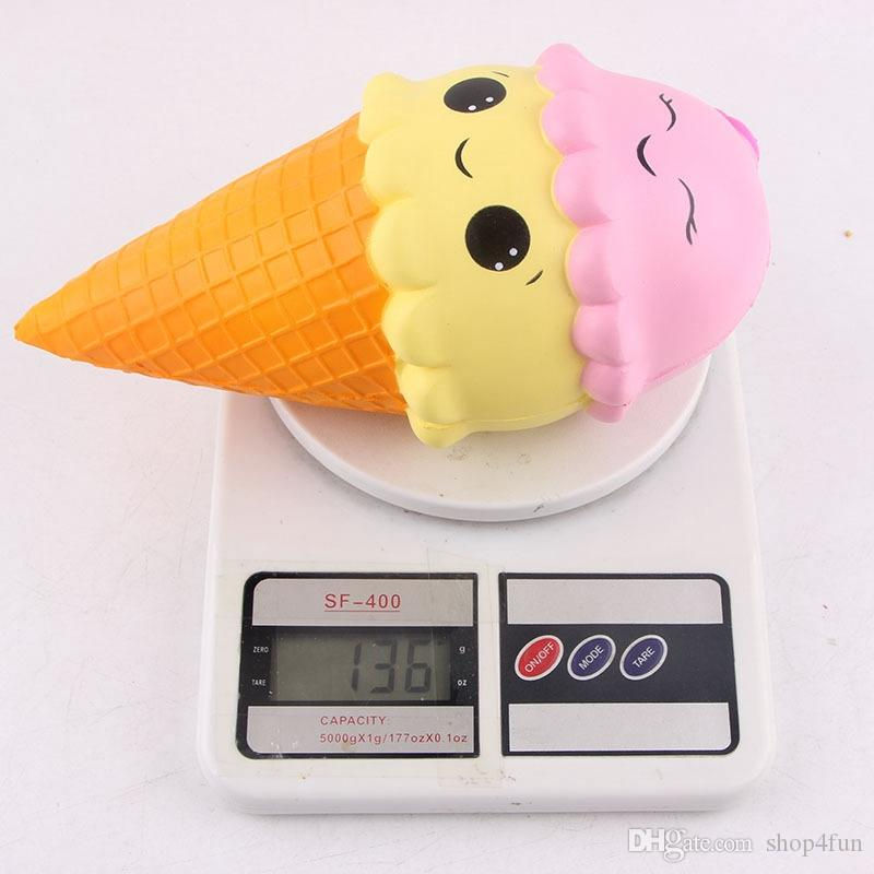 23 cm Jumbo Squishy Ice Cream Cone Smile Squishies Toy Gran aroma Slow Rising Food DHL STS227