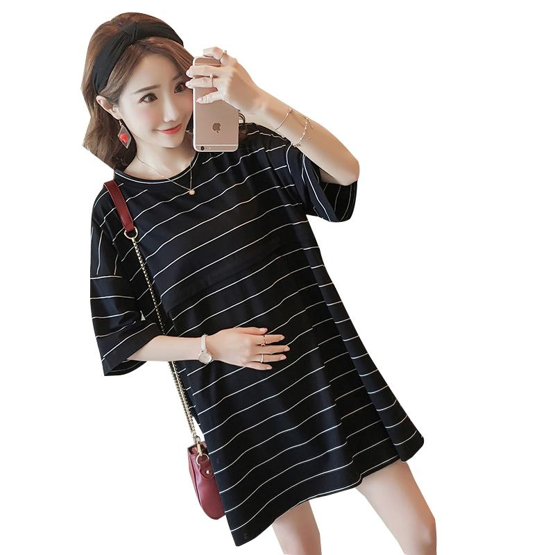 d53f408ac93 Plus Size Strip Maternity Nursing T Shirts Summer Breastfeeding T ...