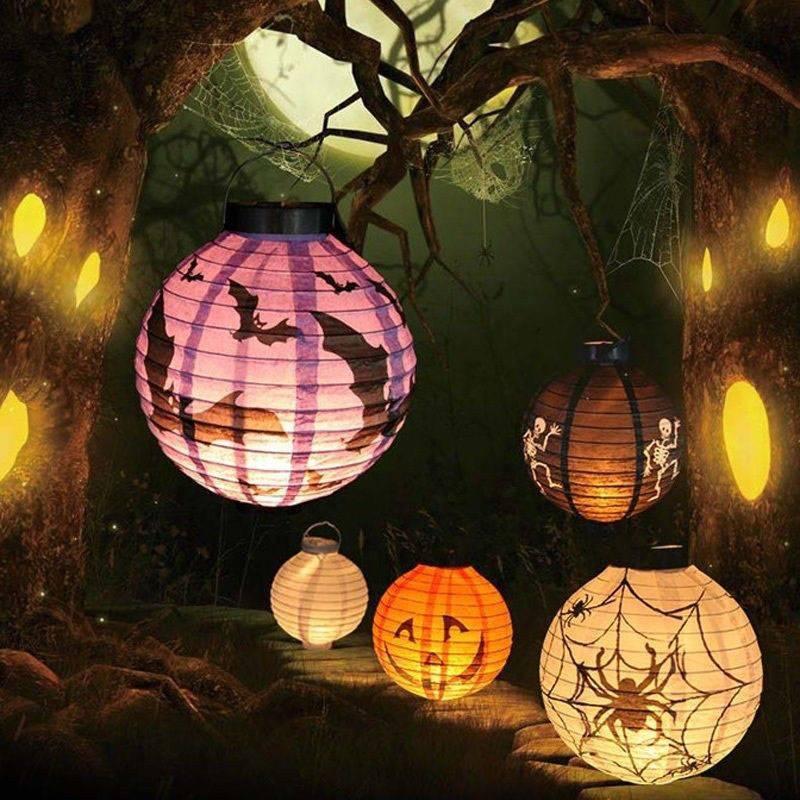 halloween decoration led paper lantern pumpkin spider bat light 7