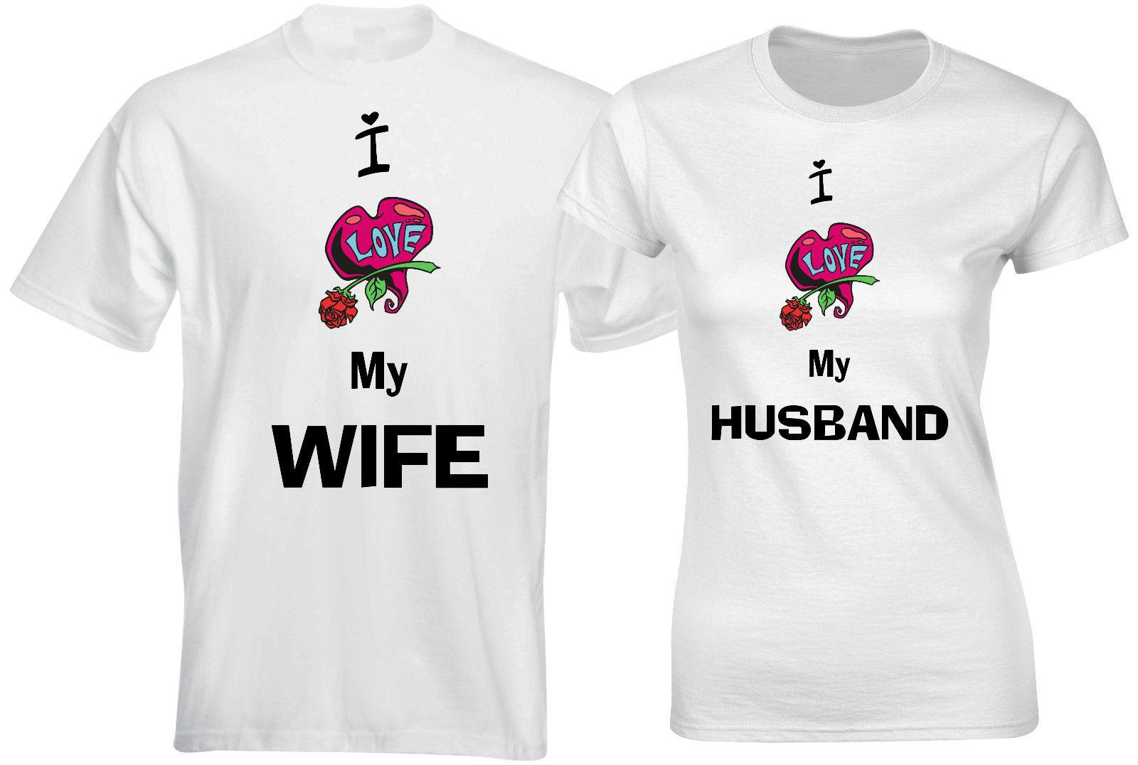 I Love My Wife I Love My Husband Rose Love Valentine Couple Matching T  shirt Funny free shipping Unisex Casual gift t shirt