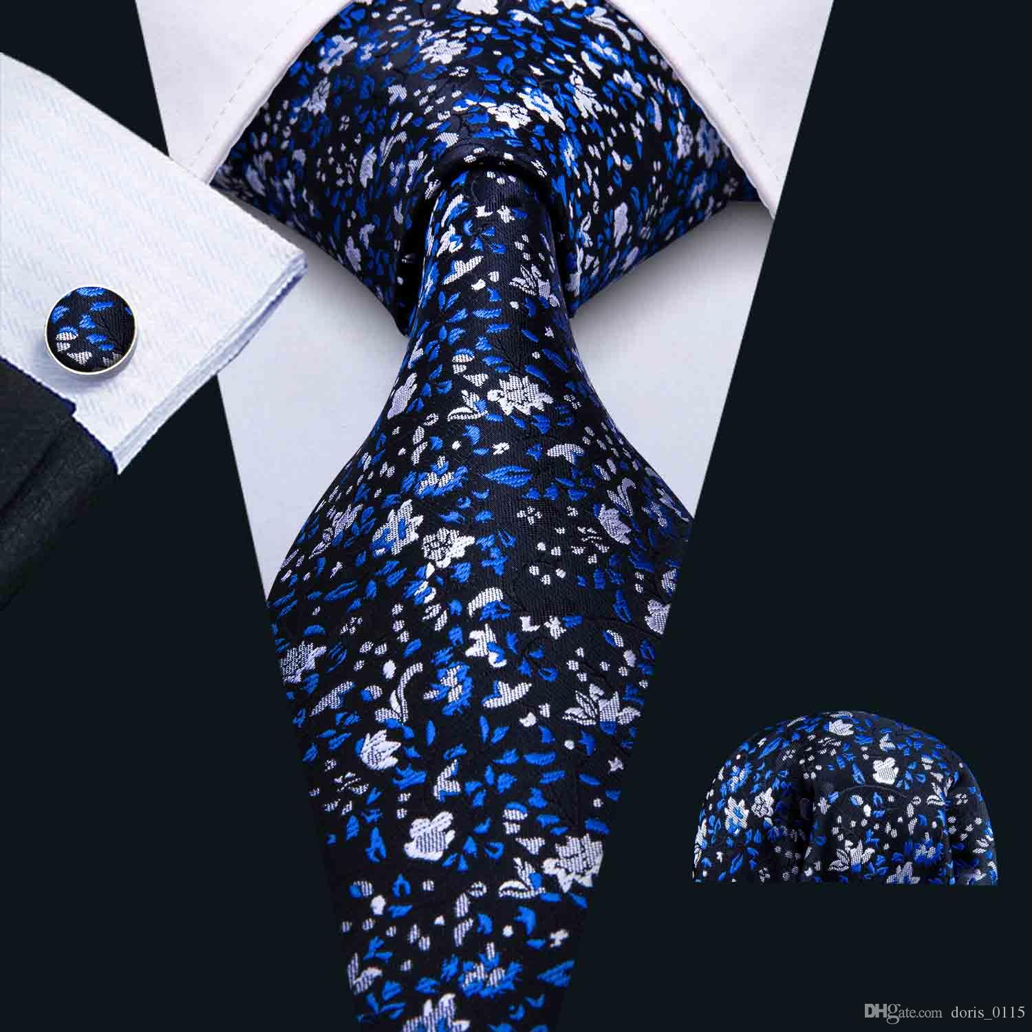 Herren Krawatte Set Dunkelblaue Stickerei Elegant und Neuartig Hankerchief Manschettenknöpfe Set Seide Business Casual Party Krawatte Jacquard Gewebt N-5035