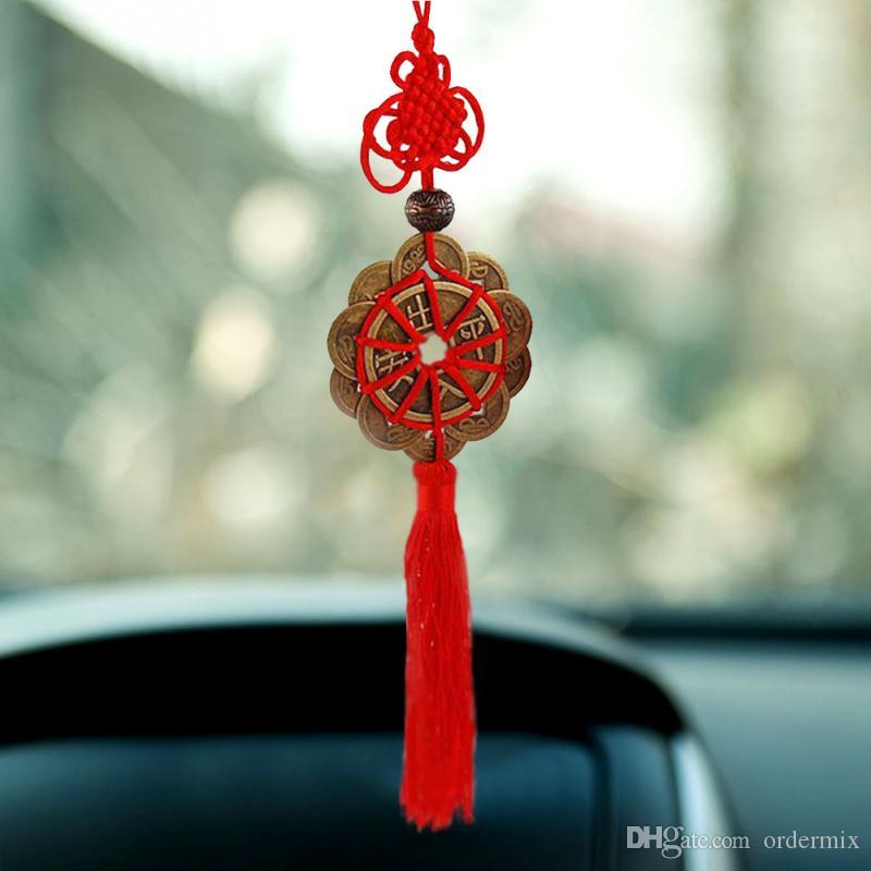 Feng Shui Fortune Coin Tassel RED Hanging Peace Chinese Knot Car Home Decoration