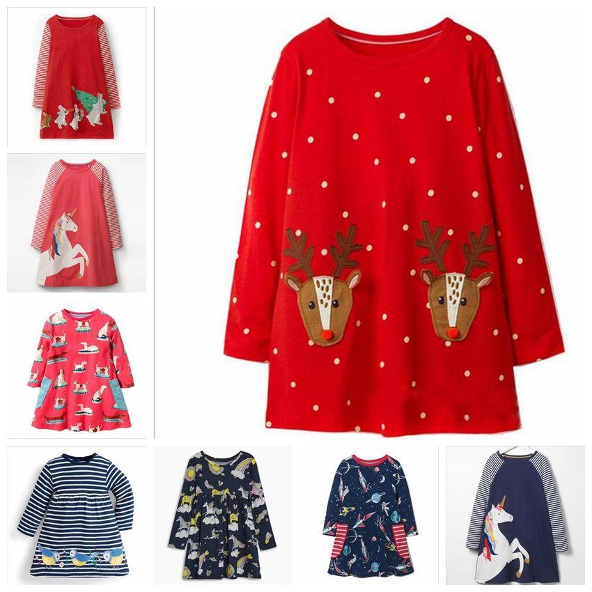 e58827a9c 2019 Christmas Girls Dresses Animal Print Baby Dress Infant Unicorn ...