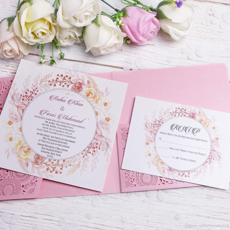 New Pink 3 Folds Square Wedding Invitation Cards With Belt For Birthday Engagement Greeting Invitations Invite Free RSVP Elegant