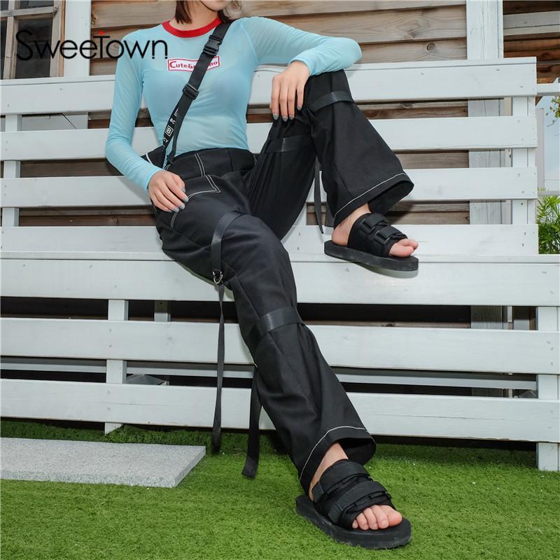 Acheter Sweetown Street Style Pantalon À Jambe Large Femmes Pantalon Cargo Noir  Avec Boucle En Plastique Streetwear Automne 2018 Casual Pantalon Lâche De  ... cdfb2c3ceec