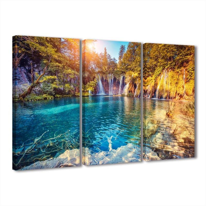 3 panels large canvas print modern fashion landscape waterfall wall ...