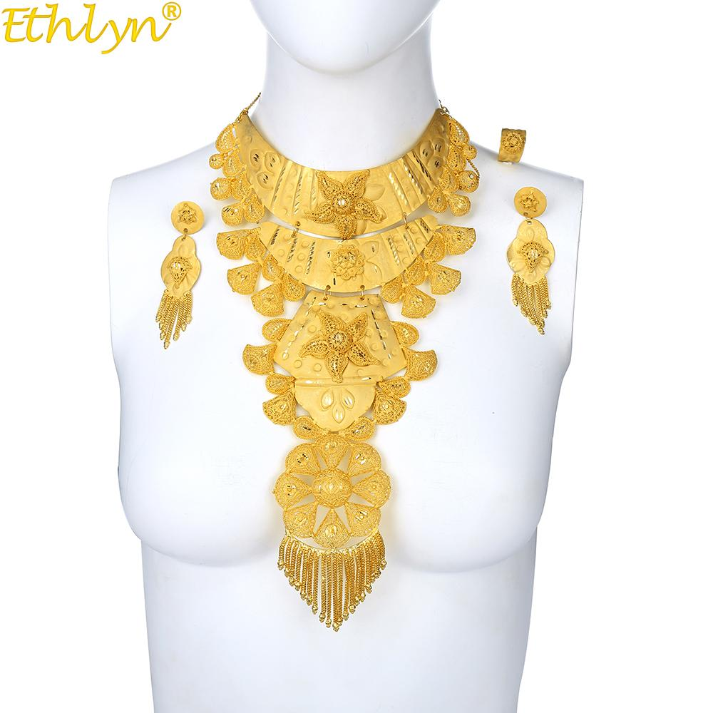 Ethlyn Jewelry Indian/Ethiopian/Middle East Luxury Big Heavy Brass Long  Duration Gold Color Jewelry Bride Wedding Sets S214