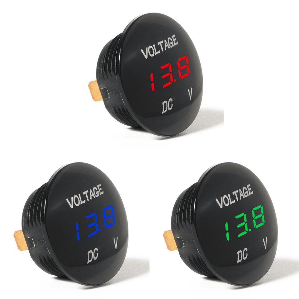Waterprof Car Led 12 24v Short Circuit Protective Battery Monitor Clock Accurate Digital Display Voltage Meter Thermometer Hot Sale Interior Replacement Parts