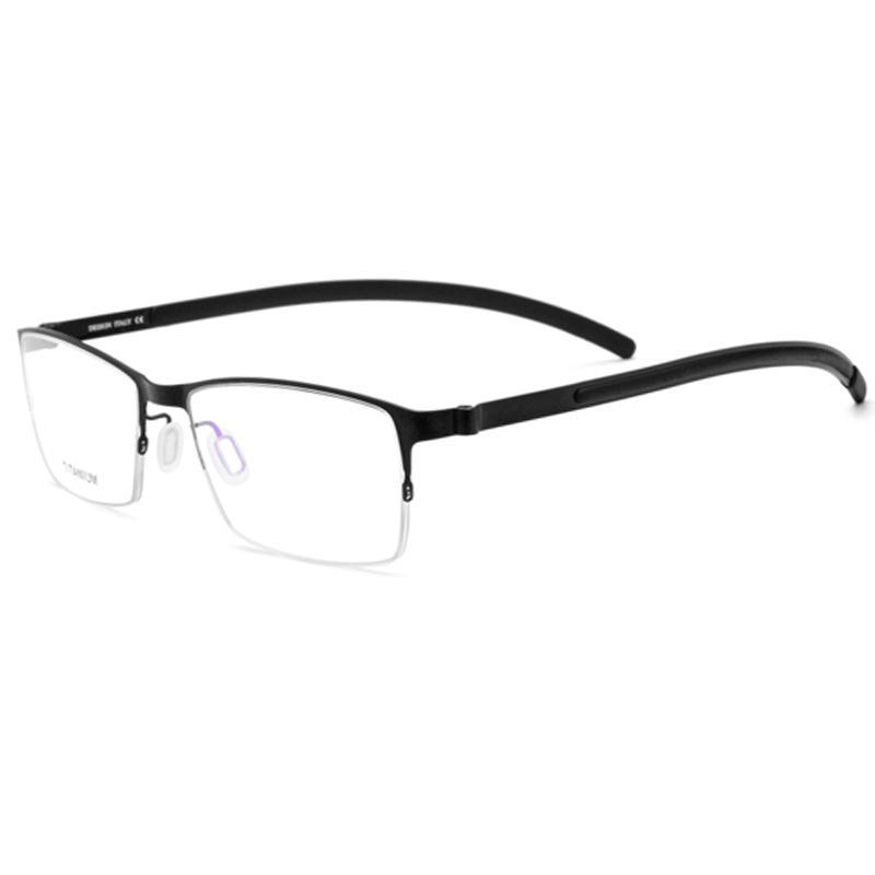 eb05f420a0be 2019 Men Titanium Reading Glasses Frame Square Prescription Eyeglasses Male  Semi Rimless Myopia Optical Korean Screwless Eyewear 2018 From Bojiban