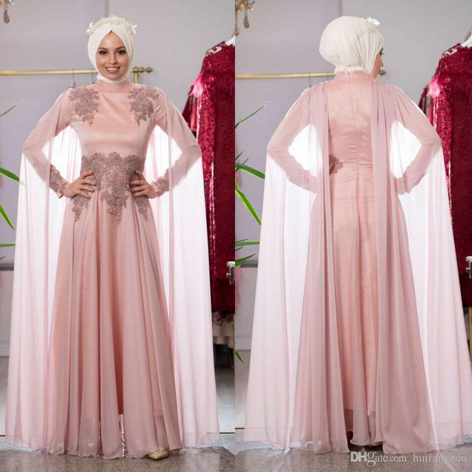d164b23f06 Modest Muslim Prom Dresses A Line High Collar Long Sleeve Appliques Chiffon  Evening Dress With Wraps Floor Length Formal Party Dresses Sell My Prom  Dress ...