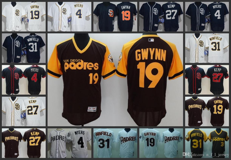 8a960b0f1 San Diego Padres Men Jersey  4 Wil Myers 19 Tony Gwynn 31 Dave Winfield 27  Matt Kemp Woman Youth Baseball Jerseys Online with  26.04 Piece on ...