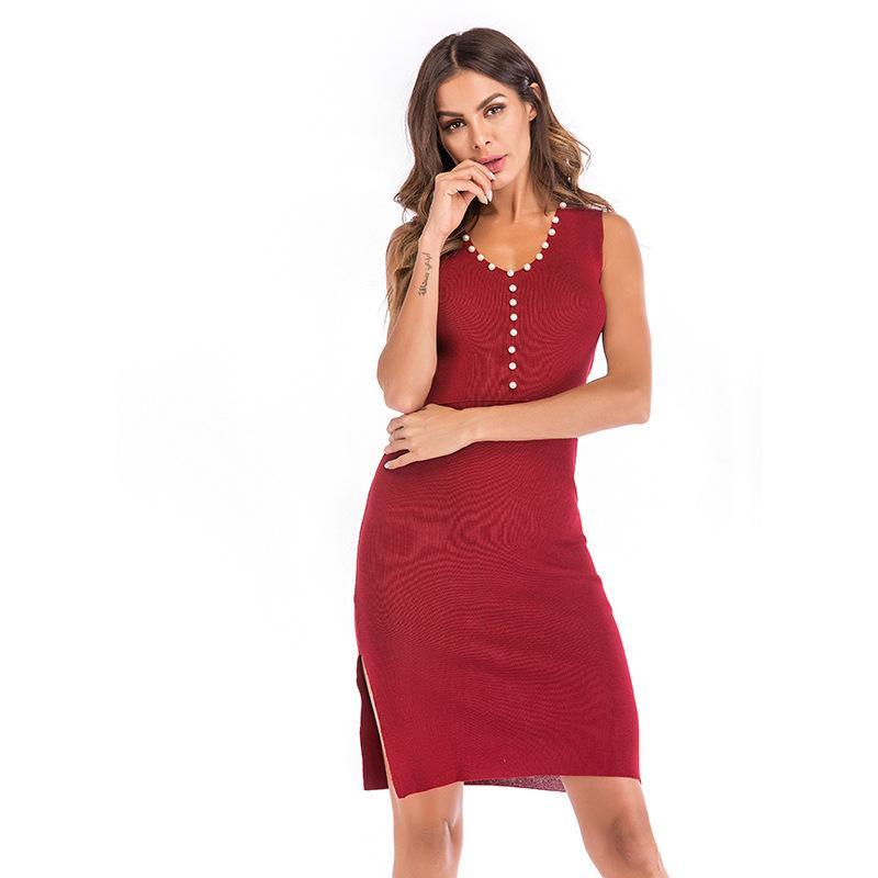 04849f699a16d Satın Al Causey Moda Örme Kazak Elbise Kadınlar Zarif Bölünmüş Çekme Örgü  Kış Elbiseler 2018 Kolsuz Sonbahar Jumper Vintage Kazak, $21.05 |  DHgate.Com'da