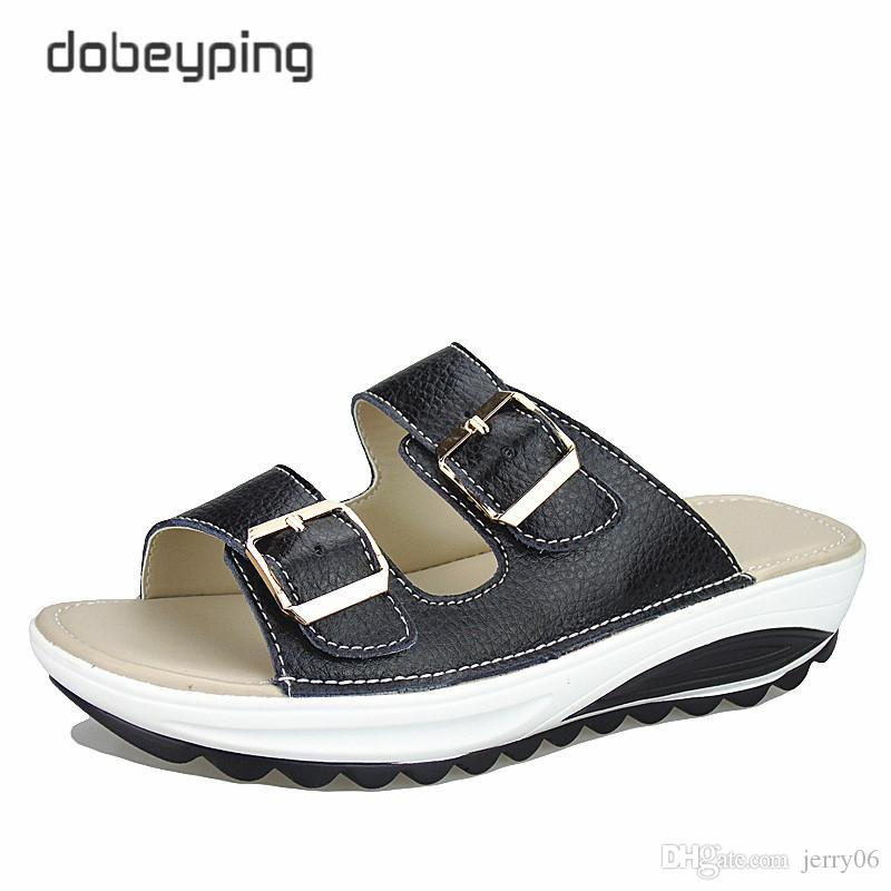 20b3a50471ffe7 2018 Casual Women s Sandals Genuine Leather Summer Flats Shoes Women ...