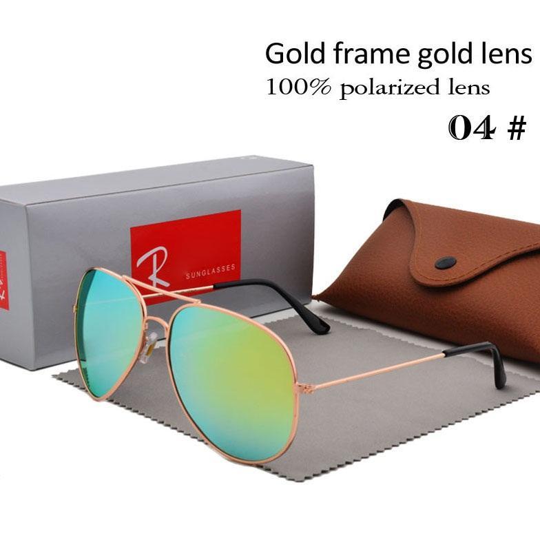 Marque Designer Lunettes De Soleil Polarisées Classique Pilote Lunettes de Soleil pour Hommes Femmes Conduite lunettes UV400 Cadre En Métal Flash Mirror Polaroid Lense