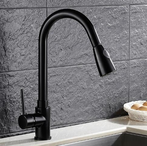 Online Cheap Pull Out Kitchen Faucet With Shower Head Black Swivel ...