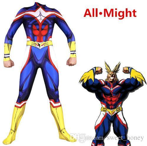 bc7bdc5e5 Customized Size Male All Might Cosplay Costume My Hero Academia Boku no  Hero Academia 3D Print Lycra Mens Zentai Bodysuit Teen Suit