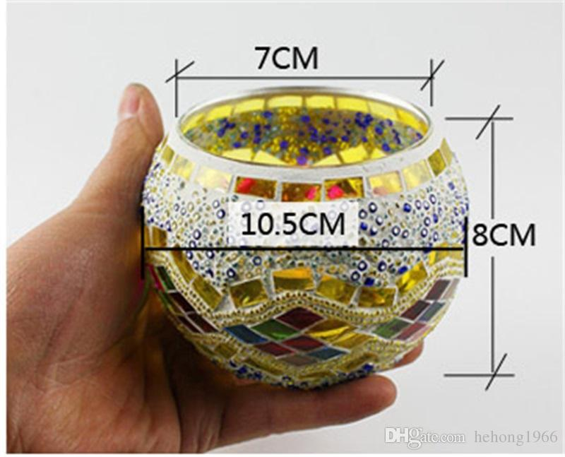 European Mosaic Candlestick Holder Handicraft Glass Tea Light Home Decor Wedding Party Gifts Decoration Without Candle 13 2zb Z