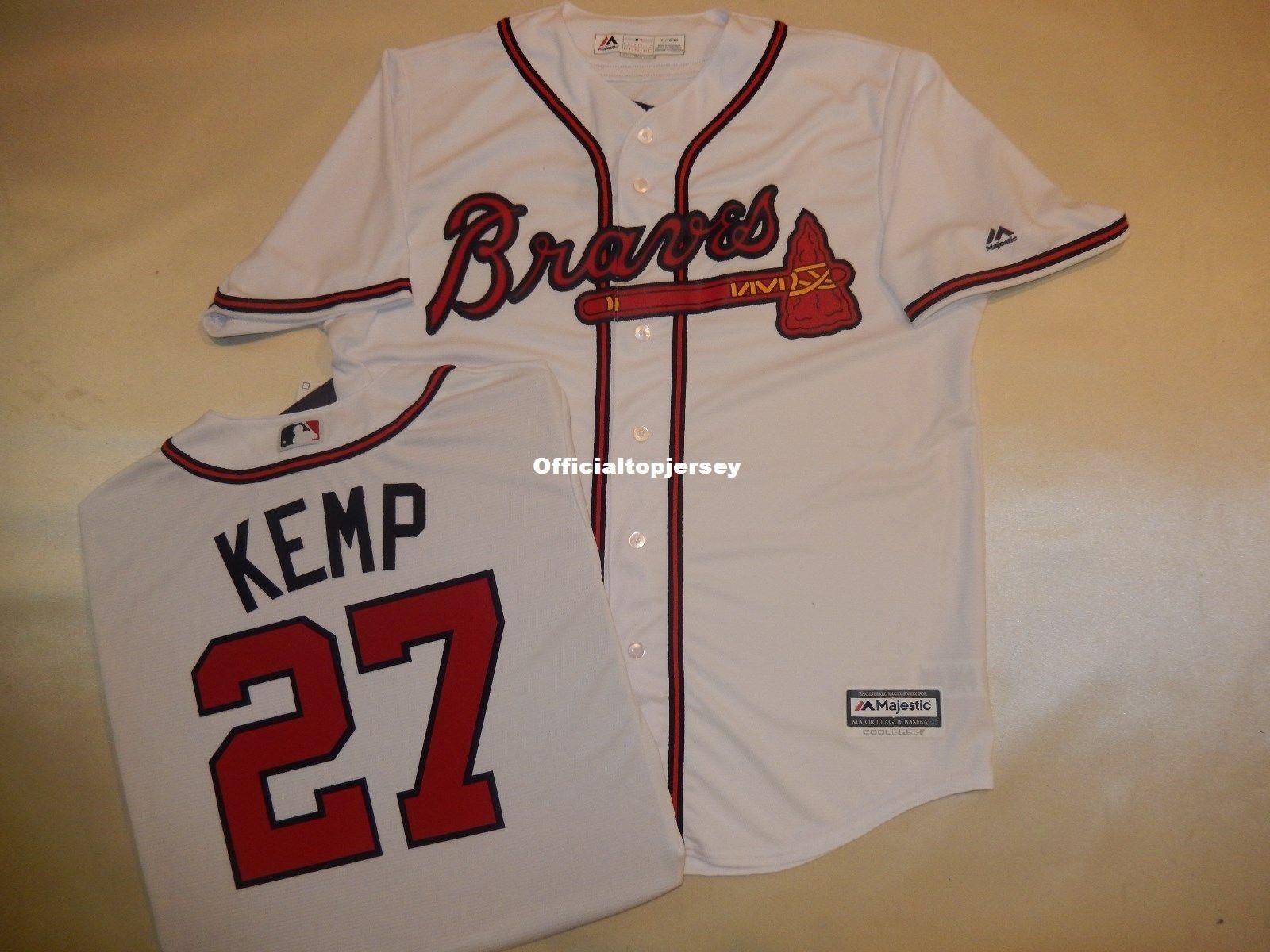 2018 Cheap Custom Mens Majestic Atlanta  27 Matt Kemp Baseball Cool Base  Jersey New Mens Stitched Jerseys Big And Tall Size Xs 6xl For Sale From  Xiaocai2017 ... 6886fc6770f