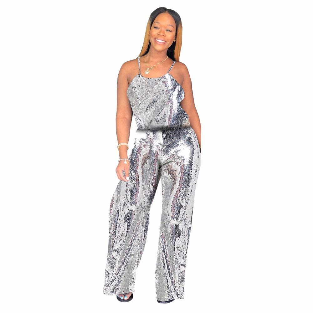 7960bd69f0d 2019 Plus Size 2XL Elegant Wide Leg Jumpsuit Summer Sleeveless Sparkly  Sequined Romper Women Open Back Sexy Club Party Jumpsuits From Layette66