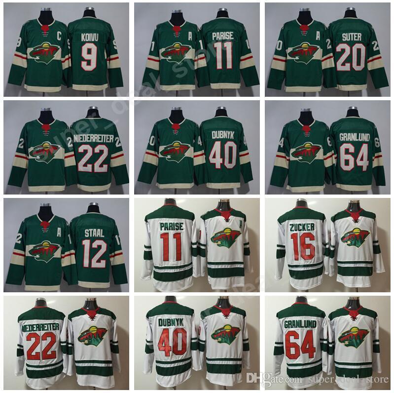 cheap for discount c0c47 eeabd Minnesota Wild 22 Nino Niederreiter Jersey Ice Hockey 11 Zach Parise 20  Ryan Suter 64 Mikael Granlund 12 Eric Staal 3 Charlie Coyle 9 Koivu