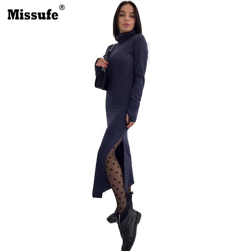 112dd91869 Compre Inverno De Malha Vestido Maxi Mulheres 2017 Gola Alta Manga Longa  Sexy Side Dividir Bodycon Camisola Robe Do Partido Do Vintage Longo Vestidos  De ...