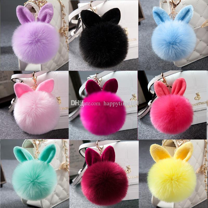 Fluffy Bunny Toys Ear Keychain Rabbit Key Chain Fur Woman Bag Charms Keyring Pom Pom Car Pendant Key Ring Holder Jewelry