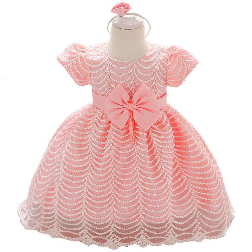 330c69147 Compre Recién Nacido De Verano 2018 Niñas Vestidos De Ropa Fiesta Infantil  Y De La Boda 1 Año Primer Cumpleaños De La Niña Bautismo De Bebé Vestido De  ...