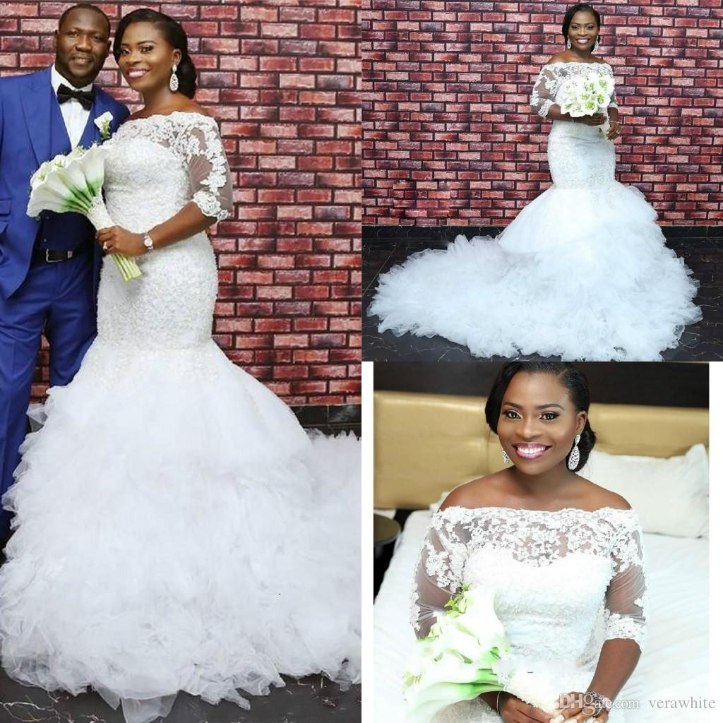 Gorgeous African Lace Mermaid Wedding Dresses Sheer Sequins Illusion ... d5c598ab6994