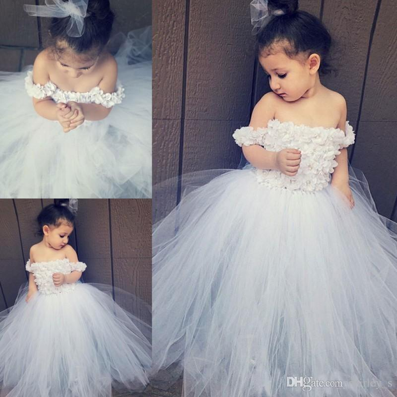 8594e6060 Sexy Off The Shoulder Girls Pageant Gowns Soft Tulle Ball Gown ...