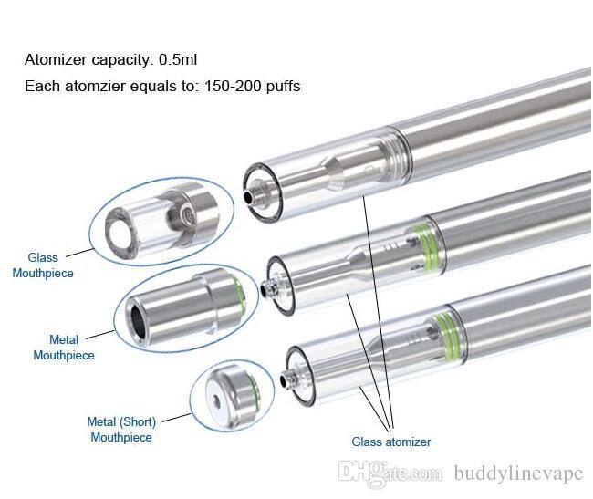 Glass disposable e-cigarette empty cartridge 0.3ml 0.5ml ceramic tank for Buddyline D1 electronic cigarette vape pen