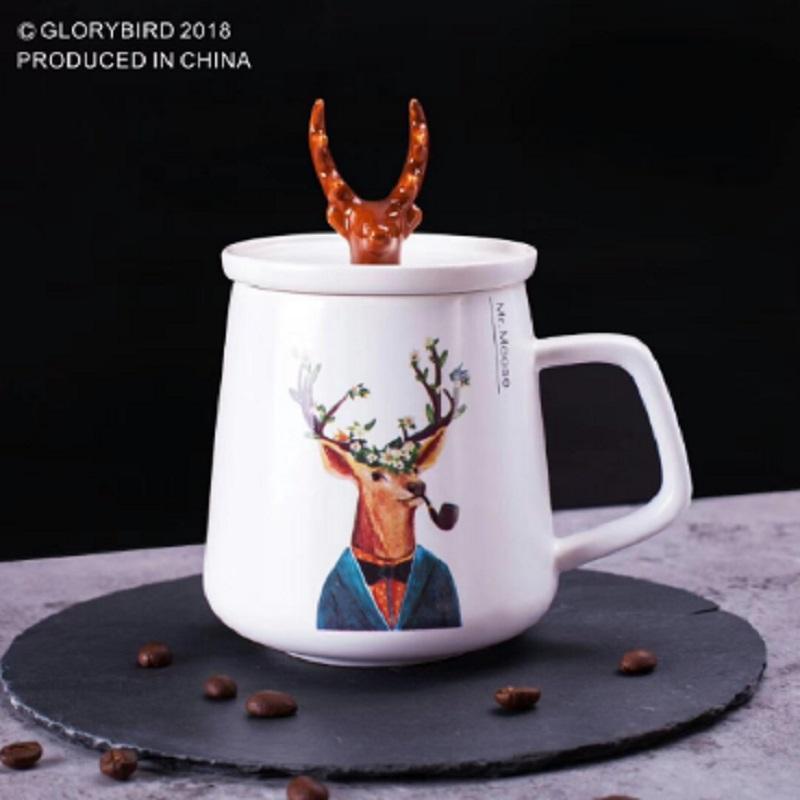 Céramique Nouvelle En Bois Européen Noël Cerf Cadeau De Tasse Couple E9D2IH
